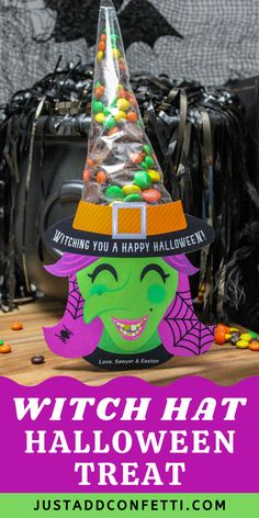 These DIY Halloween Witch Hat Treat Bags are such a fun & easy Halloween gift idea! Perfect for your entire boo crew—kids, neighbors, friends, teachers & co-workers alike will all be under the spell of these sweet candy witches! This Halloween treat is so simple to put together. All you need are cone shaped cellophane treat bags, candies and my witch printable. The witch printable is available in my Just Add Confetti Etsy shop. Also, head to justaddconfetti.com for even more Halloween ideas!