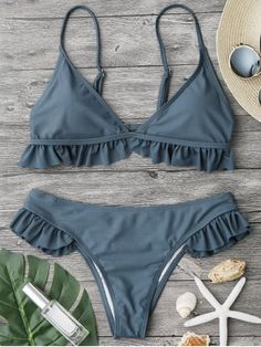 Product Description: Buy Spring Summer 2018 Swimwear Trends Women's Frilled Padded Plunge Neck Triangle Solid Color New Hot Bikini Set Beachwear on Sale by PesciModa Details: - Swimsuit Type: Bikinis Bikini Sets, Bikini Modells, Haut Bikini, Bikini Babes, Bikini Ready, Bikini 2018, Frill Bikini, Bikini Inspiration, Style Inspiration