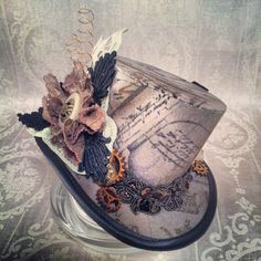 Mad Hatter Alice in Wonderland Steampunk Hat Mini Top Hat Tea Party Sherlock Gothic Hat Lolita Cosplay Women Steampunk Hats Steampunk Hut, Steampunk Costume, Steampunk Fashion, Steampunk Clothing, Steampunk Outfits, Steampunk Crafts, Victorian Costume, Steampunk Accessories, Steampunk Necklace