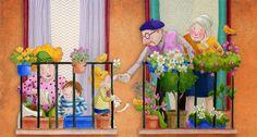Cuaderno de viaje: ¡A llenar de flores los balcones! Animal Drawings, Cute Drawings, Naive Art, Art And Illustration, Cute Art, Watercolor Art, Character Design, Flowers, Pictures