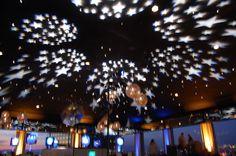 Lighting transformation - bar bat mitzvah - starry night - stars - ceiling - design by DB Creativity - laura@Dbcreativity.com