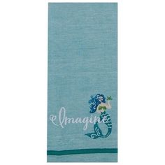 "100% cotton. Seafoam green. 28"" x 18"". Imagine and mermaid embroidered on bottom of the towel."