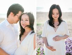 Natural light and the ocean breeze were captured in this beach sunset maternity shoot