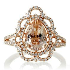 Rose Gold Vintage Victorian Design Pear Shape Morganite Diamond Halo Engagement Bridal Anniversary RHR Ring