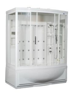 Aston Global Steam Shower with Whirlpool Bath, White, 24 Body Jets - Right Hand