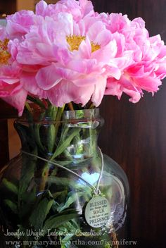 These giant peonies look amazing on my kitchen table in our Medium Lantern. They're so large, they dwarfed any regular vase but this size is just perfect for them. I love how versatile and substantial this piece is. #peonies #pretty #pink #maryandmartha #vase #flowers #garden #spring #homedecor #lovely