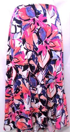 dfd240b92cc Kim rogers womens plus size 3x white black red pink floral diagonal panel  skirt
