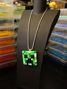 Keychain or necklace made of Perler beads for all the minecraft people out there.