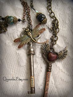 Gypsy Altered Dragonfly Necklace Altered Skeleton Key by QueenBe on Etsy