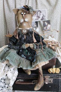 Игрушки животные, ручной работы. Ярмарка Мастеров - ручная работа. Купить Мадам.... Handmade. Кошка, ткань