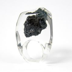 Clear resin ring with Carborundum #ring #design #style