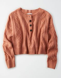 AE Cable Knit Henley Cropped Sweater Source by americaneagle Sweaters Cute Fall Outfits, Outfits For Teens, Cute Sweaters, Cable Knit Sweaters, Knit Fashion, Fashion Outfits, Mode Chanel, American Eagle Sweater, American Eagle Outfits
