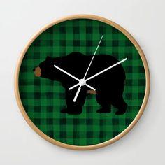 Black Bear - Green Plaid Wall Clock by myevergreenplace Black Bear, Cute Gifts, Bears, Clock, Plaid, Green, Wall, Beautiful Gifts, Watch