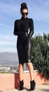 Lovely Ladies in Leather: Sonstiges Leder Leder Bleistiftröcke (Teil Long Leather Skirt, Black Leather Pencil Skirt, Black Leather Gloves, Long Black Pencil Skirt, Leather Dresses, White Leather, Sexy Rock, Look 2018, Pencil Skirt Outfits
