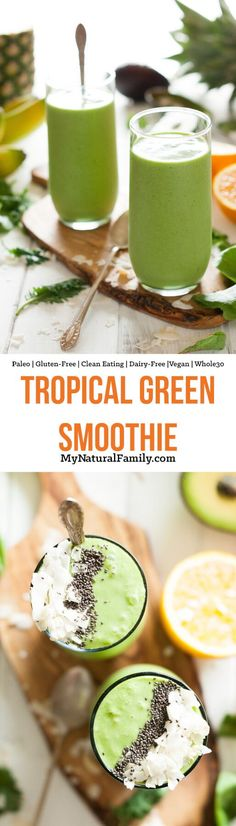 I love the flavor of this tropical Paleo green smoothie recipe. It's like an orange julius mixed with a pina colada with some greens thrown in to make it super healthy! {Paleo Gluten-Free Dairy-Free Clean Eating Vegan) via Paleo Green Smoothie, Paleo Smoothie Recipes, Breakfast Smoothie Recipes, Smoothie Detox, Healthy Smoothies, Healthy Drinks, Paleo Recipes, Whole 30 Smoothies, Melon Smoothie