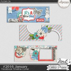 #2016 January - Facebook Timeline Covers by JenE to coordinate with #2016 January by Connie Prince. Includes 3 Facebook timeline covers, saved in PNG format. Shadows ARE included. These images are only suitable for web use, not print. Scrap for hire / others ok.
