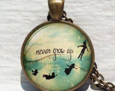 Peter Pan Pendant, Never Grow Up, Neverland Necklace, Peter Pan Necklace, Peter Pan Jewelry, Peter Pan Clock, Peter Pan Quote,