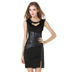 2017 New Fashion Sexy Women Dress Elegant Mini Hot Sale Pencil Dress Leather Slim Sleeveless Black S-XXL