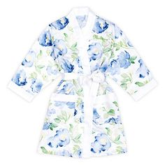 Watercolor Floral Silky Kimono Robe in White on Blue