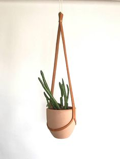 Simple Style Leather Plant Hanger With Pot