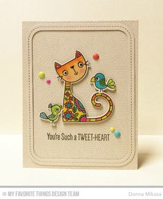 Purr-fect Friends Stamp Set and Die-namics, Single Stitch Line Rounded Rectangle Frames Die-namics, Etched Tribal Background - Donna Mikasa  #mftstamps
