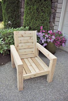 Rustic Porch Furniture Diy Modern Rustic Outdoor Chair Plans Made With Outdoor Pillows, Diy Modern R Rustic Outdoor Chairs, Rustic Patio, Outdoor Decor, Wooden Chairs, Outdoor Cushions, Chair Cushions, Outdoor Pallet, Rustic Chair, Diy Patio