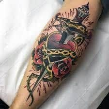 2313c4d416fecb Guys Forearms Dagger Heart And Snake Tattoo