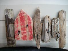 Driftwood art 5 hook key Rack - £14.00 Driftwood Mobile, Driftwood Art, Key Rack, Key Hooks, Drift Wood, Shell Art, Cottage Homes, Crates, Badge