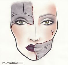 M.A.C Cosmetics has done it again! Earlier this week I showed you how to do a cracked porcelain doll makeup based on a face chart that M.A.C had drawn up espe