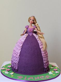 made for a little girl that love tangled Rapunzel Birthday Party, 4th Birthday, Birthday Parties, Birthday Cake, Doll Cake Designs, Tangled Doll, Bolo Rapunzel, Wedding Cake Alternatives, Fashion Cakes