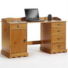 Schreibtisch mit Aufsatz in honigfarben lackiert