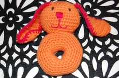 crochet baby rattle rabbit virkad skallra