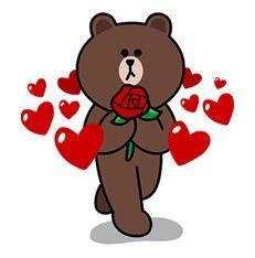 1628 - LINE Characters Love is a Rollercoaster Bunny And Bear, My Teddy Bear, Cute Teddy Bears, Line Brown Bear, Brown Line, Love Cartoon Couple, Cute Love Cartoons, Cute Love Pictures, Cute Love Gif