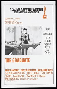 High quality reprint movie poster for The Graduate starring  Dustin Hoffman, Anne Bancroft and Katharine Ross from 1967. 11 x 17 inches on card stock.