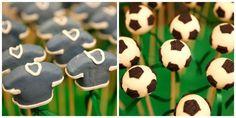 Pirulitos de chocolate decorados com bolas de futebol e camisas de time - Pedro Gissoni - 7 anos