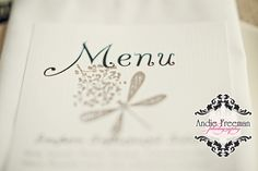 Handmade menu with dragonfly stamp.   Summer shabby chic barn wedding.  Photography by Andie Freeman Photography www.TheAthensWeddingPhotographer.com Event design, floral, and planning by Wildflower Event Services www.WildflowerEventServices.com Venue:  Private property in Chickamauga, Ga Barn Wedding Inspiration, Event Services, Private Property, Cakes And More, Event Design, Wedding Details, Summer Wedding, Wild Flowers, Real Weddings