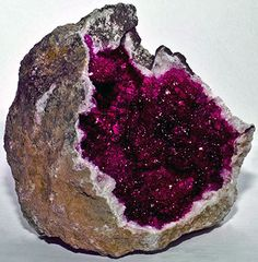 with pink crystals - how to hunt for geodes.Geode with pink crystals - how to hunt for geodes.