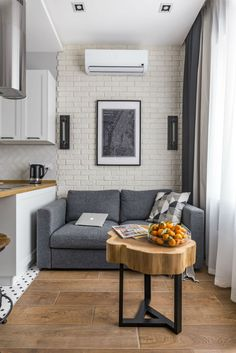 Small Apartment With Unique Yet Smooth Look Small Apartment interior design idea 5 Interior Design Examples, Industrial Interior Design, Interior Design Kitchen, Home Design, Design Ideas, Industrial Apartment, Interior Designing, Small Apartment Design, Small Apartments