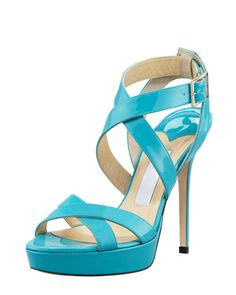 This style and colour is gorgeous!  Vamp Crisscross Sandal, Turquoise by Jimmy Choo at Bergdorf Goodman.