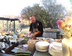 Chef Drew Deckman at his outdoor kitchen at Deckman's En El Mogor.