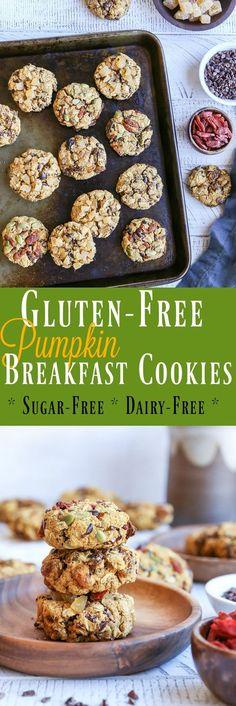 Gluten-Free Pumpkin Breakfast Cookies (3 ways!) refined sugar-free, dairy-free, and healthy