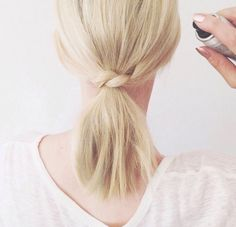 This pony knot is the perfect lazy girl hack for short haired girls.