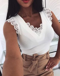 Fashion Women Sleeveless Shirt Casual Lace Blouse Loose Tops Shirt Ladies Backless Lace Up Blouse Summer Top Trend Fashion, Womens Fashion, Lace Vest, Loose Tops, Casual Tops, Clothes For Women, Ladies Tops, Sleeveless Shirt, Tank Tops