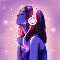 Music is all I need🎵Could you ever think of living without music?🎧As Friedrich Nietzsche said I think without music, life really would be a… drawing sketches Digital Art Anime, Digital Art Girl, Cartoon Girl Drawing, Girl Cartoon, Cartoon Kunst, Cartoon Art, Cute Girl Wallpaper, Painting Wallpaper, Painting Canvas