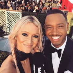 Zanna Roberts Rassi from Behind the Scenes at the 2015 Grammys With E! Style Collective The Marie Clarie senior fashion editor played celeb eye-spy with the dapper Terrence J. Terrence J, Pale Blonde, Black Eyeliner, Celebs, Celebrities, Fashion Editor, Spy, Dapper, Behind The Scenes