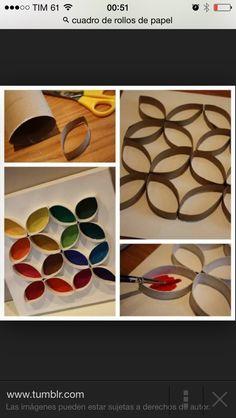 Con rollos de papel higienico y color