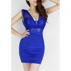 Dámské šaty B-Fashion večerní mini modra