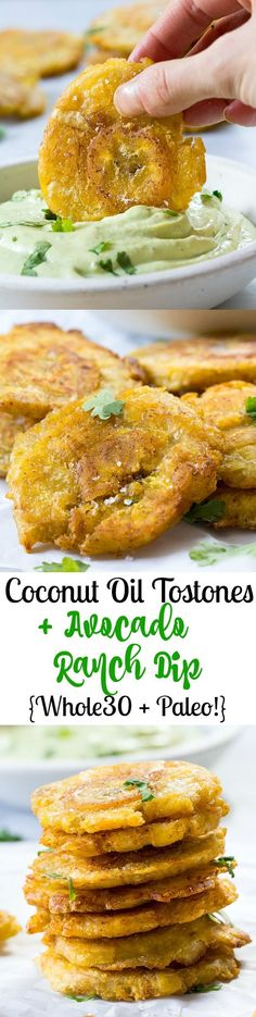 These Paleo Tostones (twice-fried plantains) are cooked in coconut oil and served with a Whole30 friendly Avocado Ranch Dip that no one will guess is Paleo!  Crispy, savory, and out of this world delicious!