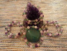 Genuine Rose Quartz, Rainbow Fluorite & Green Aventurine 8mm Bracelet by LunaValleyCrystals on Etsy