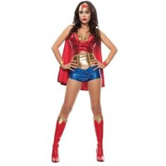 Wonder Woman Halloween costume Costume includes: red sequin bustier top, gold waistband/corset, blue star hot shorts, gold wrist cuffs (2), gold headband, red sequin cape. Boots sold in a separate listing - size 9 Other
